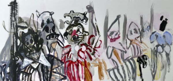 The Party's Over, Ann Vance, #358:  watercolour, acrylic on paper, 146x78cm, unframed