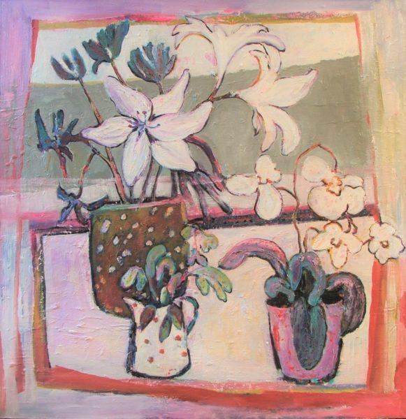 Jane's Flowers, Pat Kramek, #191: oil on board, 100x100cm