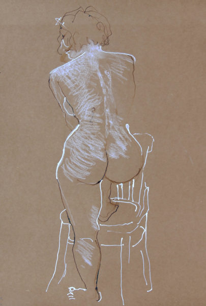 Life Study, Dominic Snyder, #337:  pen and ink/conte chalk, 42x28cm, unframed