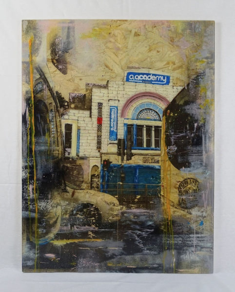 O2 Academy Glasgow, Desi Popzlateva, #297:  mixed media and resin on OSB Board, 60x79cm