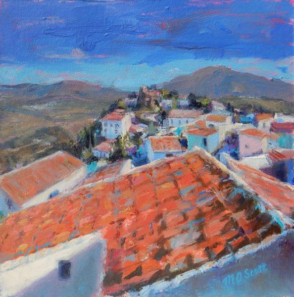 Over the Rooftops, Margaret Scott, #322:  oil, 20x20cm, framed