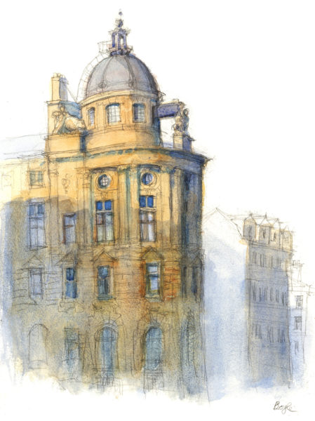 Clydeport Building, Glasgow, Frank Boyle, #030:  pencil and watercolour, 40x30cm