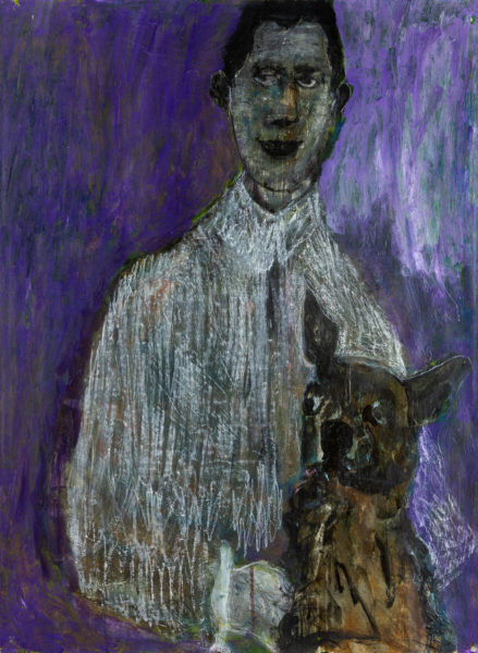 Left holding: the dog series, Shelagh Atkinson, #014:  acrylic on heritage paper 67x56cm