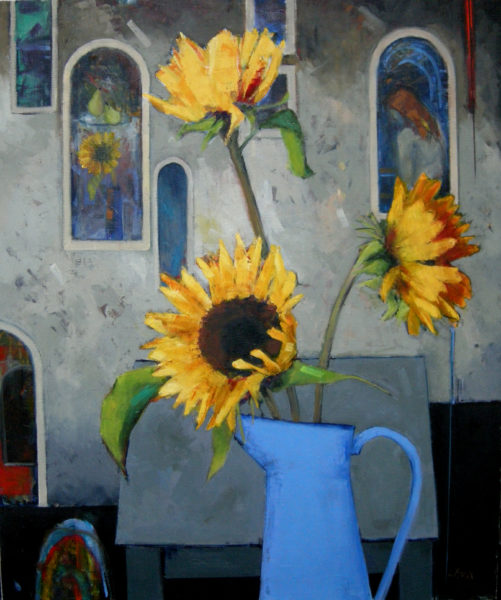 Sunflowers and Windows, Liz Knox, #190: oil on linen, 91x76cm