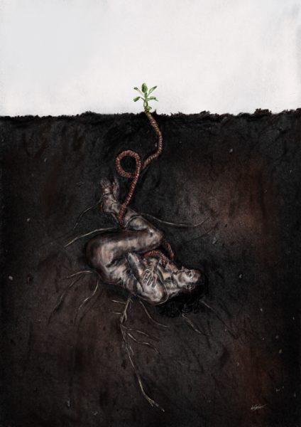 Planted to bloom (Feb'20), Kayleigh Skye  Esplin, #108: digital charcoal drawing print 1/10, 29.7x42cm