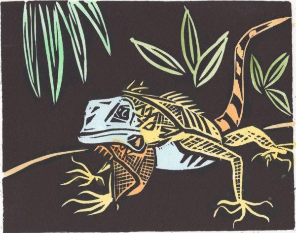 Iguana, Damian  Henry, #160: hand-coloured, linocut, 15x19cm, unframed