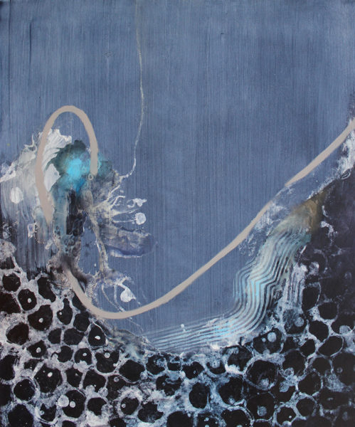 Unravelling, Gemma  Petrie, #291:  mixed media on cradled plywood panel, 50x60cm