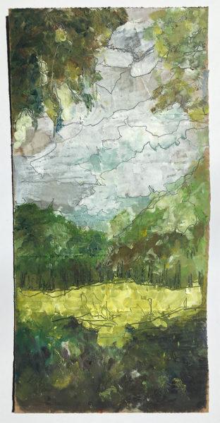 Park, Elle Wilson, #369:  collage and oil on cardboard, 14.5x29.5cm, unframed