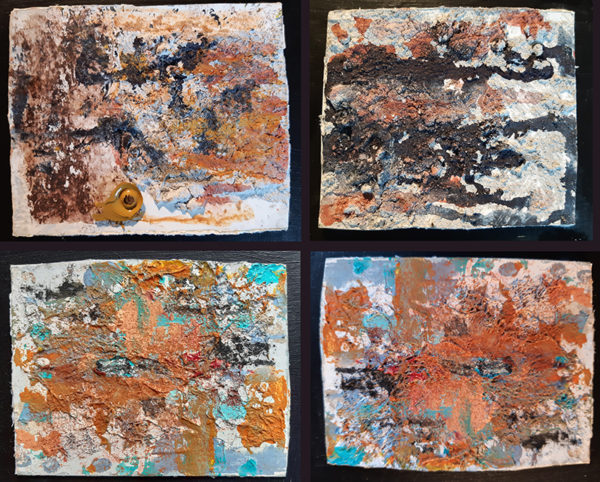 Earth Series I to IV, Nancy Sheppard Docherty, #330: mixed medium, 4 of 23x23cm, selling as one piece in floating frames