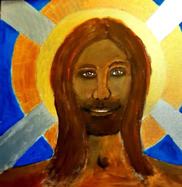 The Preacher, Carol Elizabeth Morrow, Acrylic, 40cmx40cm
