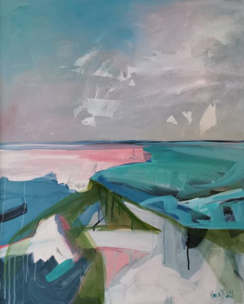 Abstract landscape inspired by local walk, Mary McDonald, oil 80x100cm