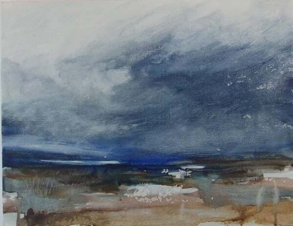 Loch Sea Sky, Rebecca Styles, tempera on board, 31x41cm