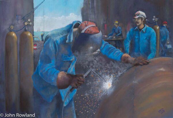 North Sea Welders, John Rowland, Pastel 39cmx58cm
