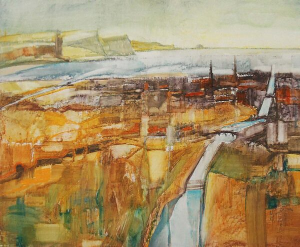 Ayr Bay, John MacDonald, water soluble pastel and acrylic on board Size 45x32.5cm