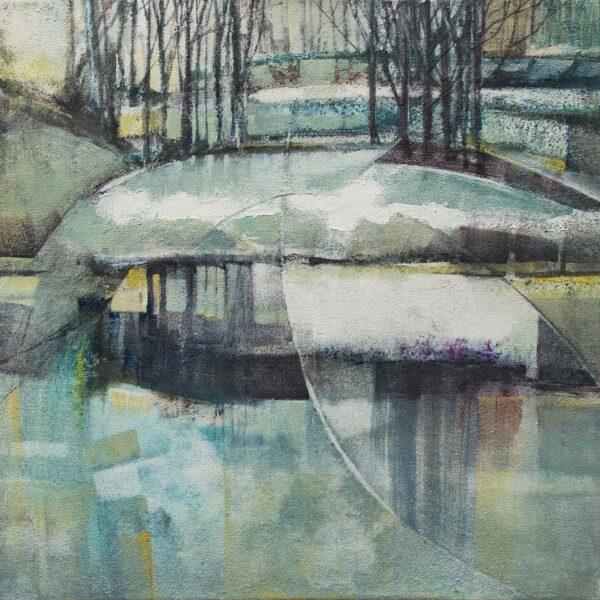 Frozen Pond, John MacDonald, acrylic on pre textured canvas Size 50x50cm