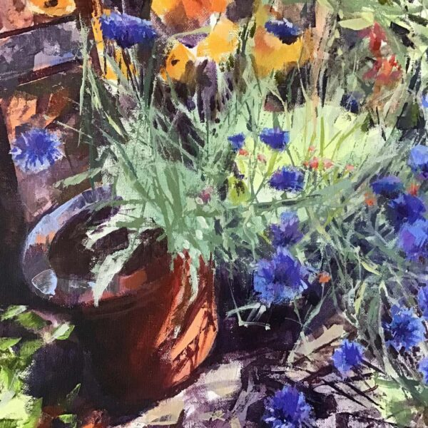 Cornflowers in the Garden, Margaret MacDonald, Margaret Mac Donald, acrylic on board