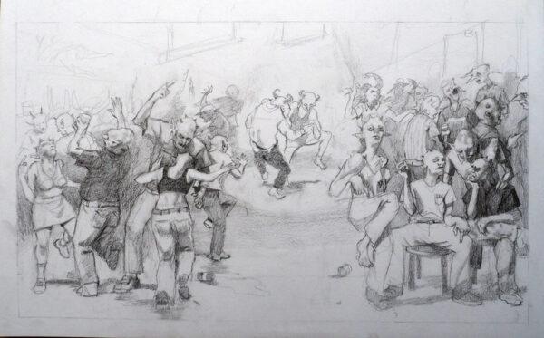 Demon Squat, Tom Harwood, Graphite pencil Unframed 23cm x 39cm