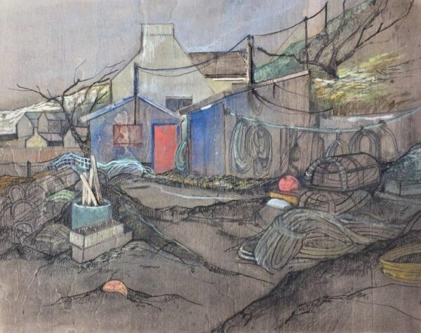 Ramshackle, Jayne Stokes, Indian ink and watercolour Unframed 28 x 35