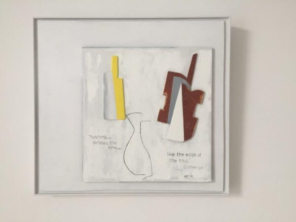 Still Life with Guitar 2, Richie Cameron, Oil, Pencil, Ink and Plywood on Board Framed 50.5cm x 55.5cm