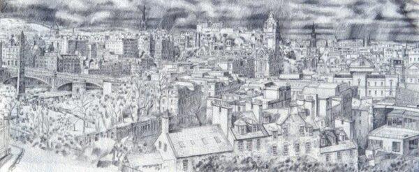 The City, Allan Black, pencil on paper Unframed 32cmx76cm