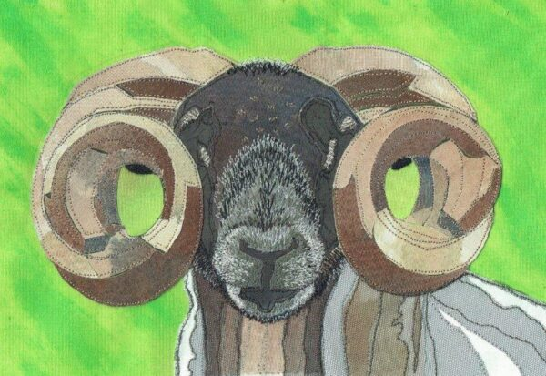 Sheep's Heid, Fiona MacRitchie, Painted calico background with collage made from recycled garments with freestyle machine embroidered detail. Framed 31cm x 41cm x 2cm