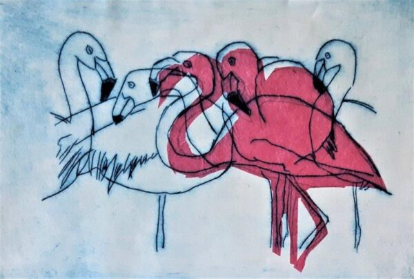 Flamingoes, Nancy Sheppard Docherty, Drypoint ink print with Chine-collé  Unframed 23cm x 17.5cm