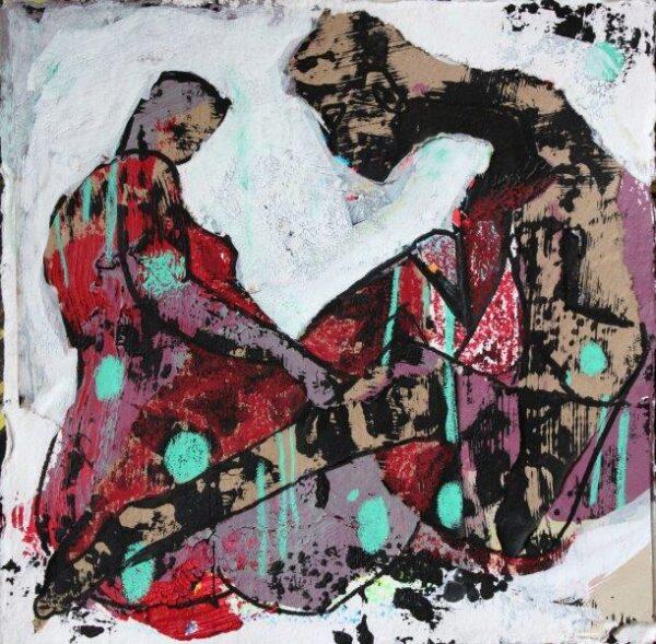 Entangled, Louise Montgomery, Collage, Crayon, Paint pen, Mono Print, Acrylic Paint Unframed 21cmx21cm