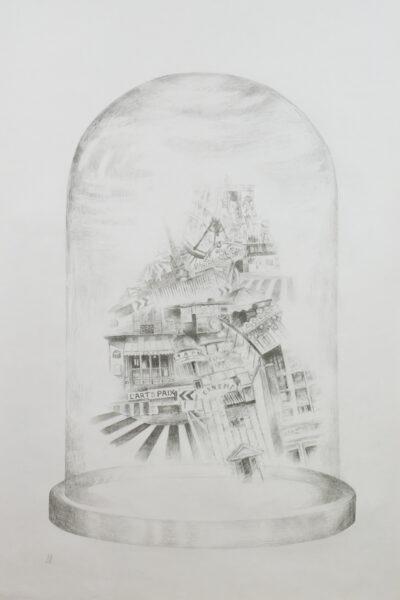 Retracing my Steps, Paris, Lynn Hunter, Pencil  Framed 120 x 90 x 8 cm