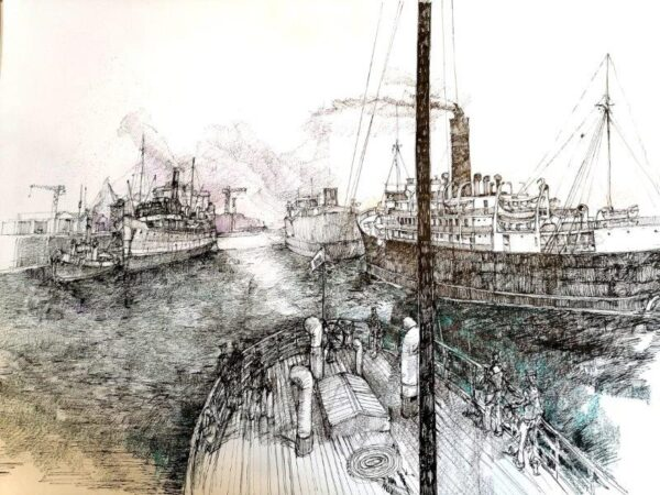 River Clyde in the1930's, Robert Thomas, Pen, Ink and Pencil Unframed 420mm x 594mm