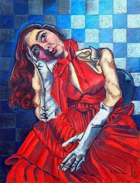S.W., Karolina Franceschini, oil pastel on paper Framed 78cm x 58cm x 3cm