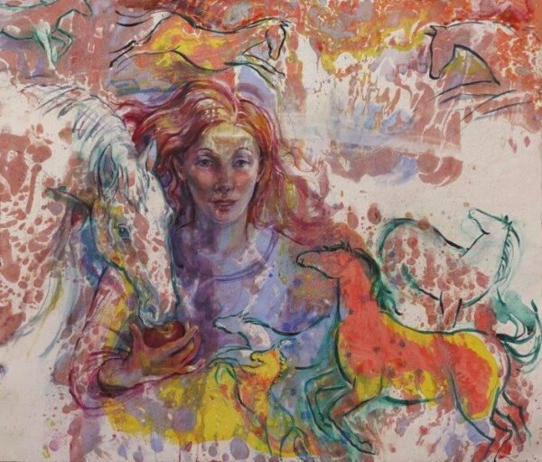 'Gift Horses', Libby Anderson, watercolour on a marbled ground Framed 70cm x 77cm x 3cm