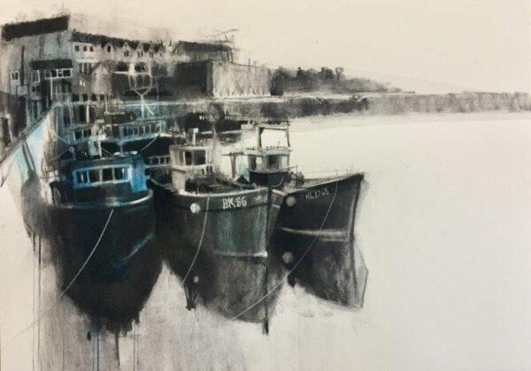 Evening, Seahouses, Nicole Stevenson, charcoal Framed 76cm x 96cm x 2.5cm