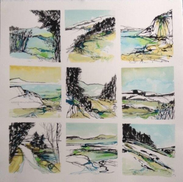 Winter Walks, Rhona Kirkpatrick, Inks Framed 55cmx55cm