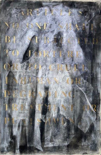 A Dress for No Name, Frank  Higgins, Charcoal, Graphite, Paper, Glue, Gold Paint Framed H 88cm x W 60cm x D 5cm