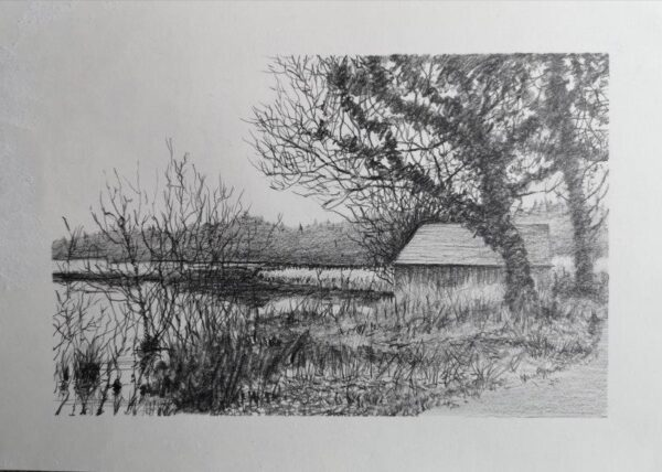 Boathouse, Ross McKay, Pencil Framed 32 x 44