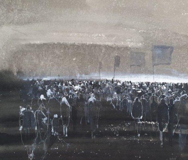 Under the Same Sky, Christine Clark, Ink on  paper Unframed 50x60cm