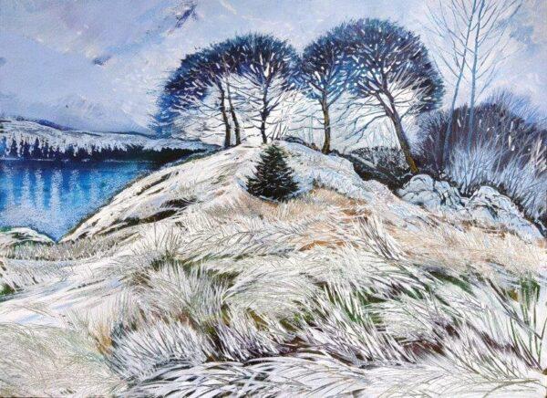 Midwinter, Loch Awe, Arthur Ker, Mixed media acrylic/pastel. Framed 70cm x 88cm x 2cm