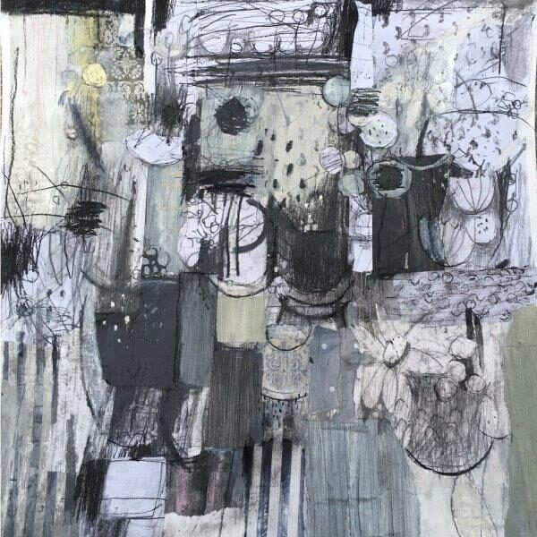 Shastas and Honesty, Paul Murray, charcoal and collage Framed 75x75x3cm