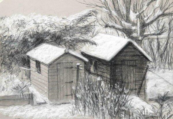 Sheds in the snow, Frank Boyle, Charcoal,pencil,chalk Framed 42cm  x 53cm x 3cm
