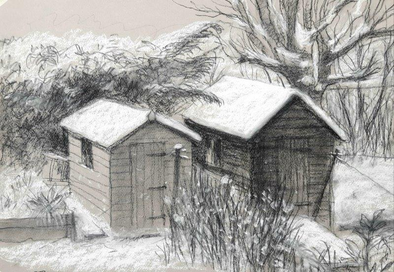 Sheds in the snow