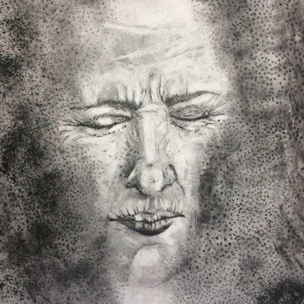 Encased, Gwen Fleming, Charcoal on paper  Framed 34x 34cm