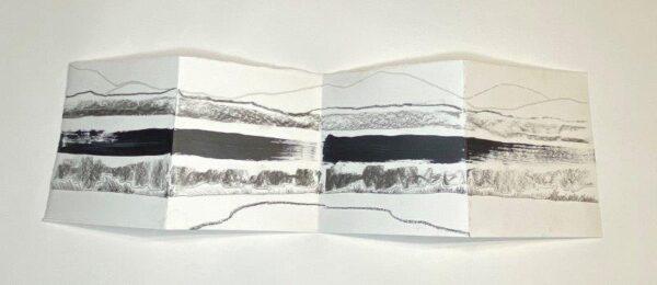 Eleven Horizontal Lines, Karla Healy, Charcoal, Conté Crayon, Acrylic, Marker Pen, Fineliner Unframed 42cm x 12 cm