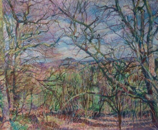 Looking towards Arthur's seat from Corstorphine hill., Karen Laird, Pastel  Framed 55cm x 65cm x 2.5cm