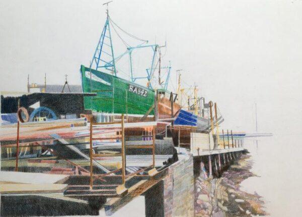 Mallaig Boatyard In for Repair, Ann Armstrong, Colour Pencil Unframed 40cmX50cm