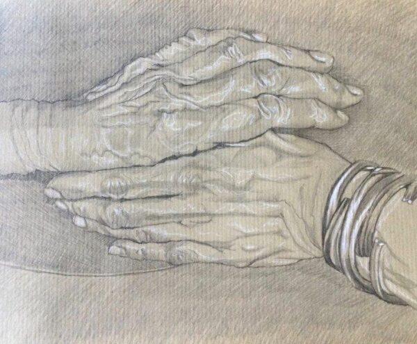 """JoseBella hands over her stories"", Suzanne  Enterkin  -Grogan, Pencil Framed 35.6 x 26.7cm"