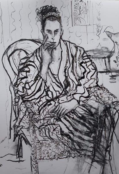 Alice's Model, Mary Gillespie, Stick, Pen, Ink, Charcoal   Framed 76cm x 61cm