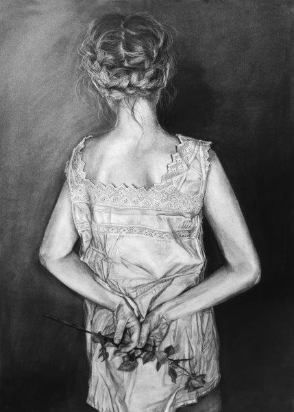 A memory carried away dream by dream, Zuzanna Salamon, Charcoal on paper Framed 74x54cm