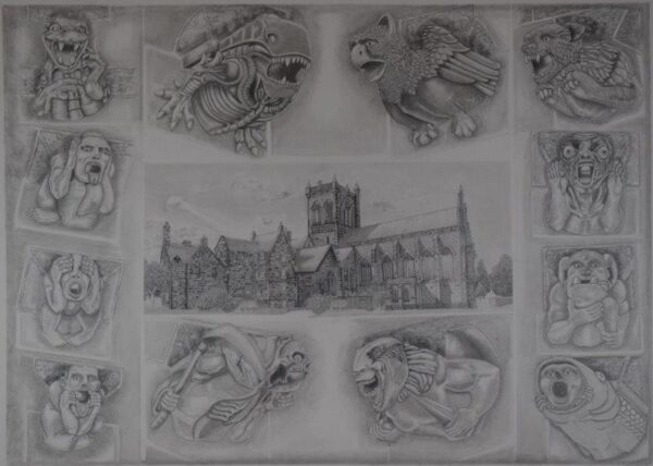 Paisley Abbey and Gargoyles, Josephine Moncur, Graphite pencil, Fabriano Artistico cotton rag paper 300gsm Framed 76cmx56cm